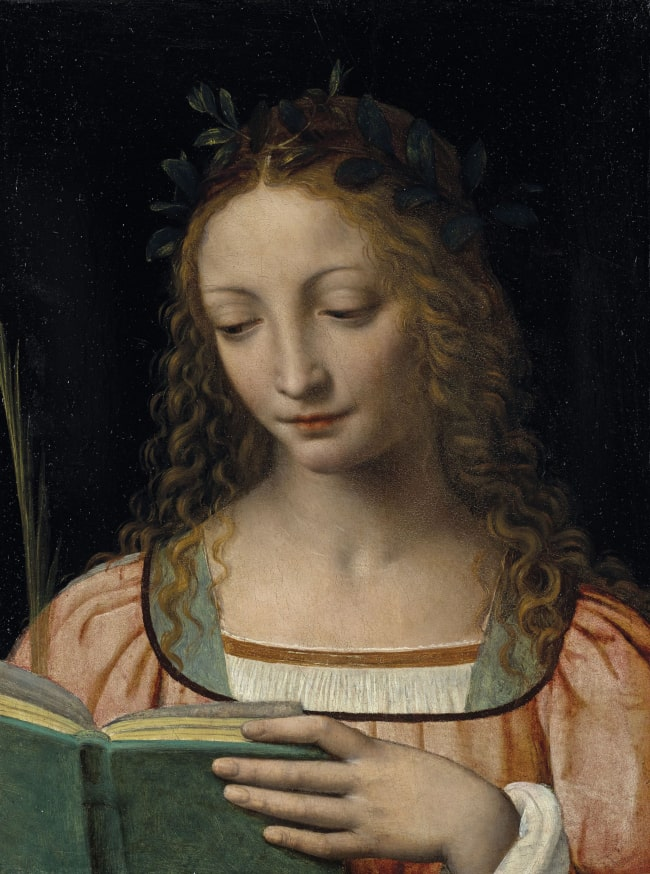Holy Woman Reading. Painting by Bernardino Luini.